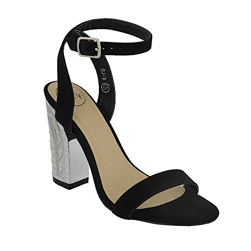ESSEX GLAM Gamuza Sintética Sandalias gruesas de punta abierta con tira al tobillo y tacón cromado para fiesta Negro Gamuza Sintética