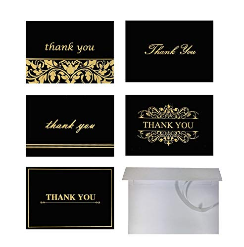 100 Thank You Cards with Self Seal Envelopes Set - Bulk Thank You Notes - By American Deluxe - BLANK Inside - 5 Designs, Gold Foil & Black, 4x6 Photo Size - For Wedding, Bridal & Baby Shower, Business ()