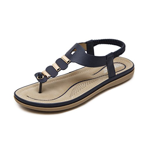 Sandales Summer avec Marin Mode Métallique élastique String Femme Tongs Beach Boucle Noir Comfort Flat Bleu REWwX