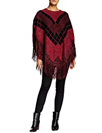 Vertigo Paris Women's Printed Fringe Trim Poncho Sweater