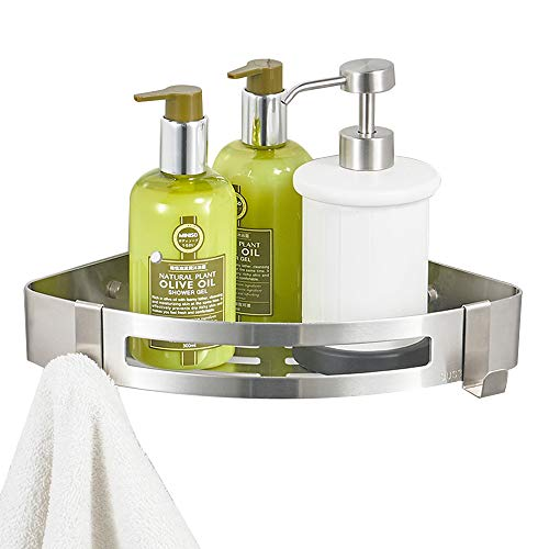 BESy Adhesive Bathroom Shower Corner Shelf Shower Corner Caddy with 2 Hooks, Drill Free with Glue or Wall Mount with Screws,No Damage Stainless Steel 1 Tier Shower Wall Shelves Triangle,Brushed Nickel (For Wall Corner Bathroom Shelf)