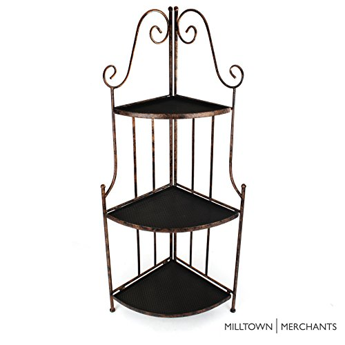 Milltown Merchants™ Indoor/Outdoor Corner Shelf - Iron Corner Plant Stand - Antique Copper Metal Plant Stand with Decorative Curved Scrollwork - Folding Corner Rack (1, Antique Copper)