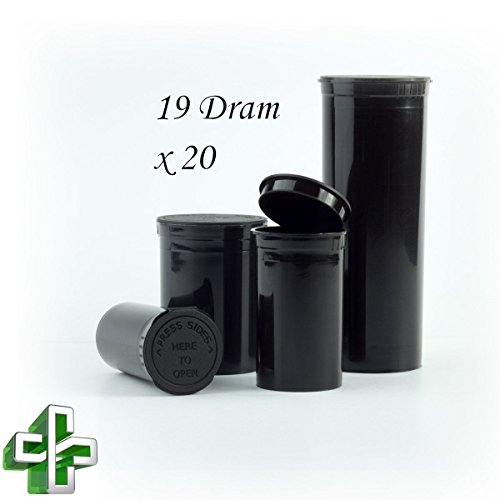 Diameter Pop (Bulk Buy: Lot of 20 CPSC Opaque Black Obsidian Pop Top Child Resistant Containers w/ Attached Lids - 19 Dram)