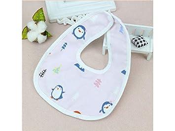 XDXDWEWERT Toalla Babero Babero Impermeable para bebé y niña de Dibujos Animados bebé Babero Toalla para niños y niñas (patrón pingüino) (Color : As Shown): ...