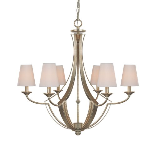 Capital Lighting 4336WG-511 Chandelier with White Glass Shades, Winter Gold Finish (Soho Ceiling Chandelier)
