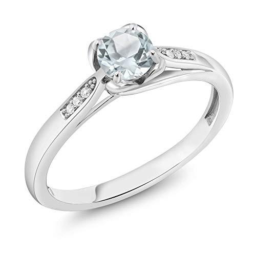 - Gem Stone King 10K White Gold 0.44 Ct Round Sky Blue Aquamarine and Diamond Engagement Ring (Size 9)