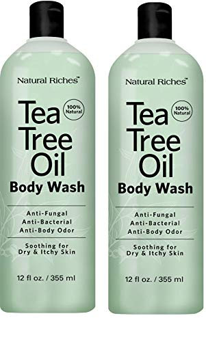 Antifungal TeaTree Oil Body Wash, Peppermint & Eucalyptus Oil Antibacterial Soap by Natural Riches -12 oz Helps Athletes Foot, Eczema, Ringworm, Toenail Fungus, Jock itch, Body Itch (2 pack) (Best Antibacterial Soap For Feet)