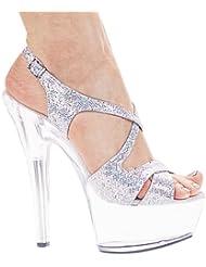 Ellie Shoes Womens 6 Inch Heel Silver Glitter Strappy Sandal (Silver Glitter;11)