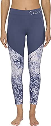 Calvin Klein Women's Printed Fitness Compression Pant with Logo Waistband, Multi-Coloured (Blush Diamond Dust), XS