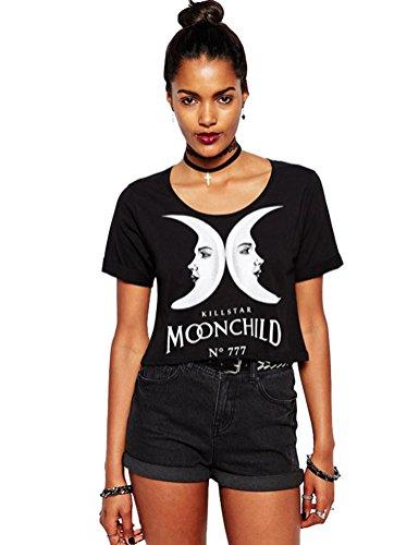 WuLun Women's Casual Punk Wind Double Dark Moon Letter Print Crop Cotton T-Shirt (Medium, Black) Moon Black Shirt