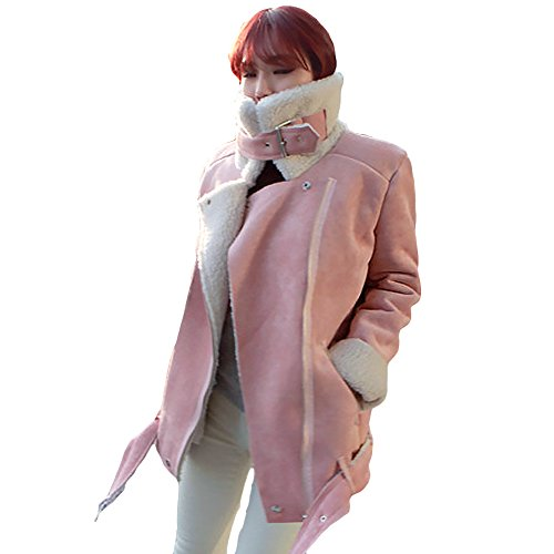 LOCOMO Women Pink Faux Suede Fur Lined Zipper Aviator Biker Coat FFJ071L (Fur Coat Notched Collar)