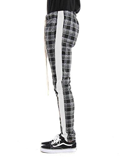 EPTM Men's Ankle Zip Long Drawstring Side Stripe Plaid Track Pants
