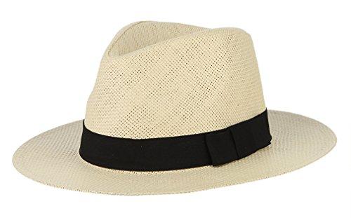 Gemvie Fedora Panama Hat Black Banded Wide Brim Summer Straw Cap Beige (Banded Straw Fedora Hat)