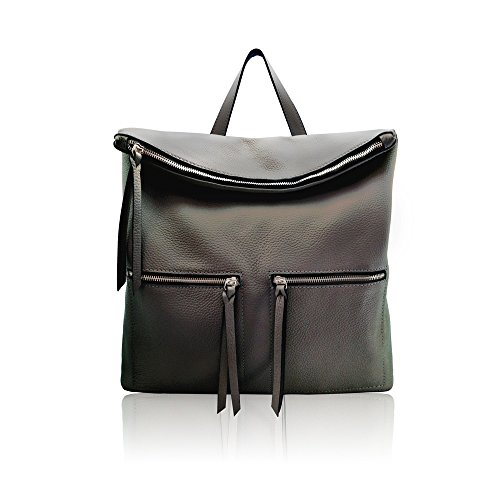 WHITNEY Backpack mens womens zipper bag grained leather Made in Italy ()