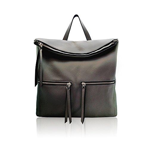WHITNEY Frau Mann Rucksack Tasche mit Reißverschluss, weich strukturiertem Leder, Hergestellt in Italien schwarz
