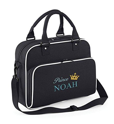 Personalizado y elegante Prince Princess Baby Travel/bolsa para pañales y cambiador negro Prince (Blue Embroidery) Prince (Blue Embroidery)