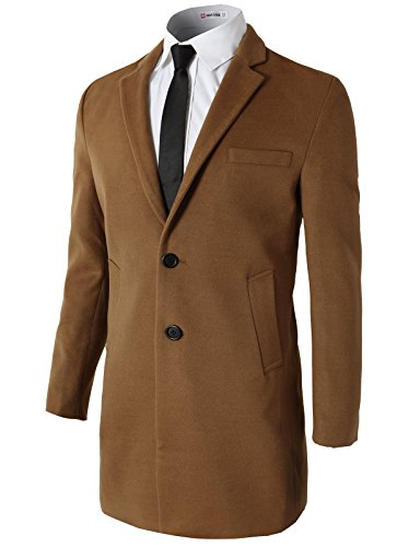 H2H Mens Big & Tall Classic Wool Car Coat Brown US XL/Asia 4XL (KMOCO0108) - Tall Car Coat