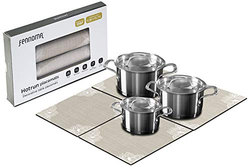 Fennoma HOTRUN Modular Table Runner placemat Set- Extendable Table Cover Holds pots Tableware - Protects Surfaces- Anti-Slip Material Handles up to 356 Degrees F - Multi-use Party Set (Beige & lace)