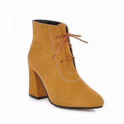 For Boots Autumn stringati alti Big And Warm Wsr 40 Size Martin Giallo Tacchi Winter Women alti B1q5wWSH