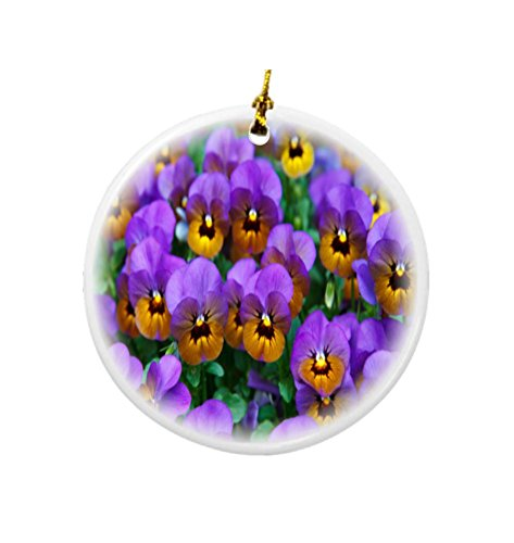 - Rikki Knight Purple Pansies Design Round Porcelain Two-Sided Christmas Ornaments