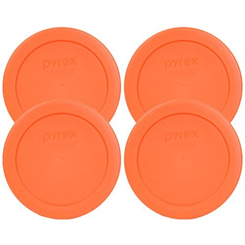 - Pyrex 7200-PC Round 2 Cup Storage Lid for Glass Bowls (4, Orange)