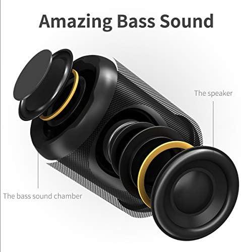 [Upgraded] Bluetooth Speakers,MusiBaby Bluetooth Speaker 5.0,Outdoor,Waterproof,Wireless Speaker,Dual Pairing,Loud Stereo Sound,Booming Bass,25h Playtime for Camping,Beach,Pool,Shower(Black) 41n3kUSPZ9L