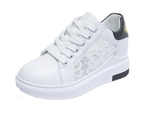 Allhqfashion Chaussures À Lacets Bout Rond À Talons Aiguilles Femmes Assorties Couleur Chaussures-chaussures Noires