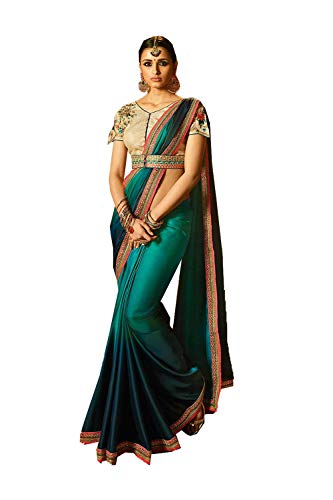 (Indian Sarees for Women Designer Party Wear Traditional Turquoise Sari.)