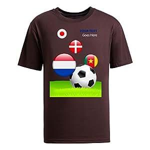 Custom Mens Cotton Short Sleeve Round Neck T-shirt,2014 Brazil FIFA World Cup teams_E brown