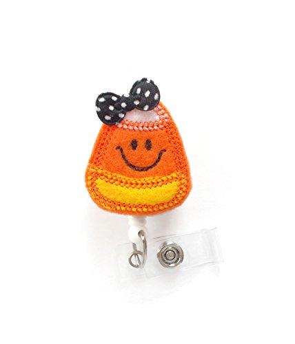 Smiling Candy Corn with Bow - Nurses Badge Holder - Halloween Badge - Nursing Badge Holder - Teacher Badge Reel - Rn Badge - Halloween Badges