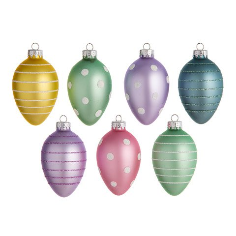 Plastic Easter Egg Ornaments: 2.56 inches Assorted Colors - 7 pieces