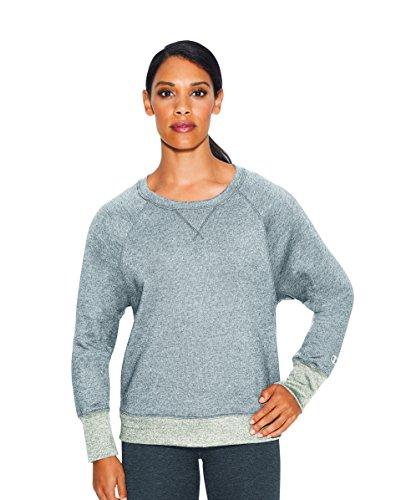 Champion Women's Fleece Boyfriend Crew Sweatshirt, Oxford Grey Oatmeal Heather, Medium ()