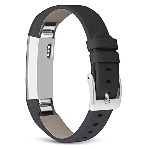 UMAXGET for Fitbit Alta HR and Alta Leather Band, Genuine Leather Replacement Wristband for Women Men Black