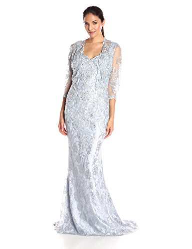Mac Duggal Women's All Over Beaded Lace Dress with Jacket, Smoky Blue 12