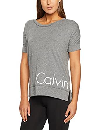Calvin Klein Women's Short Sleeve Tshirt with Reflective Logo, Grey Heather, M