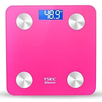 Zhrui Báscula de peso digital personal Báscula de baño profesional Báscula de baño elegante Bluetooth rosa inteligente: Amazon.es: Hogar