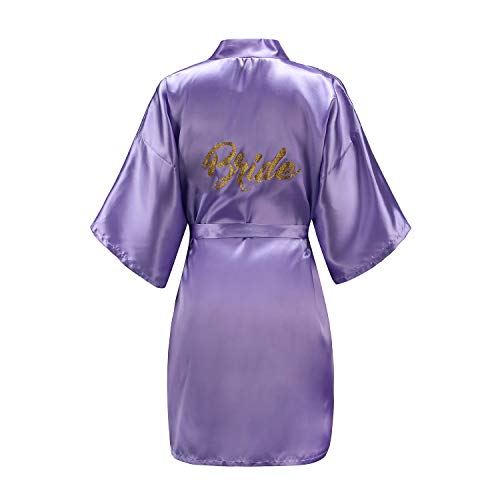 EPLAZA Women One Size Bride Bridesmaid Robes with Gold Glitter for Wedding Party (Light Purple, Bride) ()