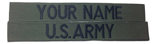 2 pieces OD GREEN Name Tape & US Army USAF USMC Tape, Sew-On (without Fastener)