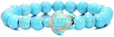 49b5588821 FRS2FJH Summer Style Sea Turtle Beads Bracelets for Women Men Classic 8MM  Blue Natural Stone Elastic