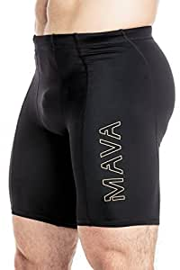 Mava Men's Compression Short Leggings - Base Layer Tights for Workouts, Running, Cycling, Sports, Training, Weightlifting - All Weather Shorts Capri