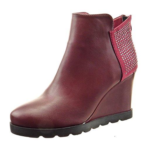 Cm Donna Tallone Di Del 9 Di Sopily Modo Stivaletto Rhinestone Boots Bimateriale Rosso Diamante Cuneo qFwEO4B