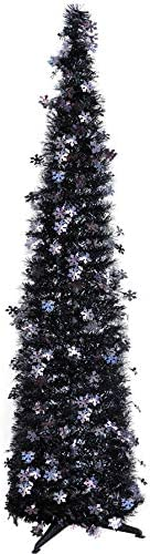 1,5 m Slim Pop Up Tinsel Decorato Albero di Natale Matita Alberi di Natale Pieghevole Facile Montaggio Festa di Vacanze Indoor Outdoor Table Top Natale Ornamento Artificiale