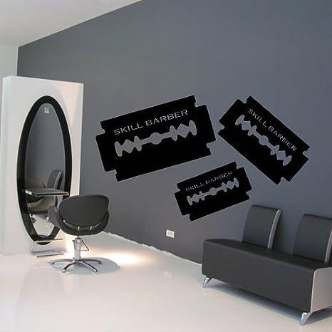 Wall Decal Vinyl Art Decor Hair Shaver Blade Salon Beauty Skill Barber Scissors Haircut (M1092)