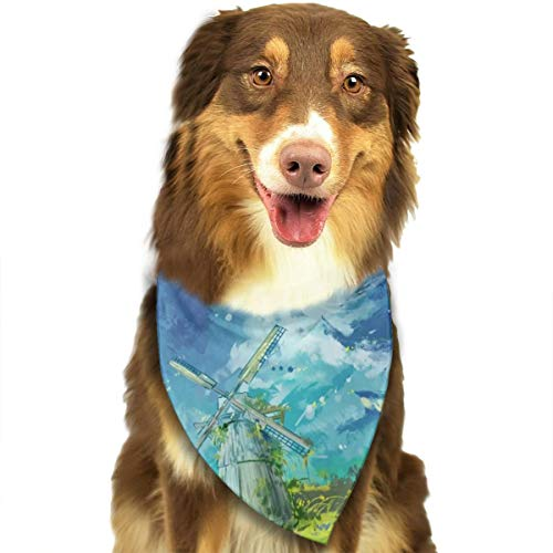 Dog Bandana Triangle Scarfs Puppy Bibs Accessories, Watercolor Windmill, for Dogs, Cats, Pet Birthday Party Gifts Supplies