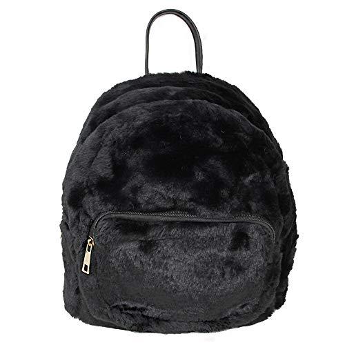 (Me Plus Women's Soft Faux Fur Fuzzy Mini Backpack, Shoulder bag Purse, Schoolbag (Black))