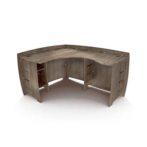 Legare Furniture Grey Driftwood L-Shaped Corner Desk with Adjustable Shelves, 47