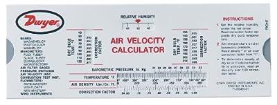 Dwyer Air Velocity Calculator Slide Chart