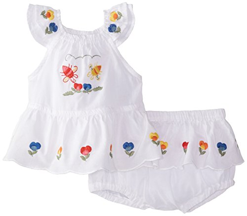 Stella McCartney Baby-Girls Newborn Molly Embroidered Top and Bloomer Set, White, 18 Months