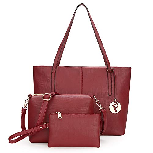 in Set per a Travel a donna borsa sintetica Daily Bo 3 Red Work tracolla Shopping a mano a pelle Party borsa pezzi Borsa Borsa tracolla mano per dEwXHnHq0