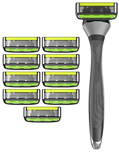 Dorco Pace 6 Pro - Six Blade Razor System with Trimmer - 10 Pack (1 Handle + 10 Cartridges)